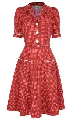 Vintage Dresses Utility Dress- Red Love the pockets and matching trim on the sleeves! Retro Outfits, Vintage Outfits, 1940s Fashion, Vintage Fashion, French Fashion, Look Retro, Retro Dress, Dress Vintage, Aprons Vintage