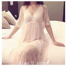 Night Dress For Women, White Dresses For Women, Trendy Dresses, Long Nightdress, Pink Nightgown, Dress Plus Size, Vintage Mode, Sleep Dress, Pretty Lingerie