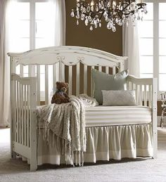 Distressed White Cribs - Like the wooden ones.when my sister has a baby Baby Boy Nurseries, Baby Cribs, Girl Nursery, Girls Bedroom, Nursery Inspiration, Nursery Ideas, White Bedding, Striped Bedding, Baby Bedding