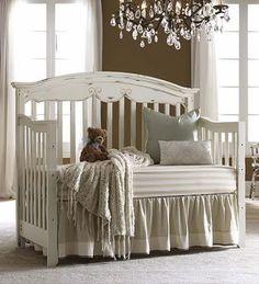 Distressed white crib