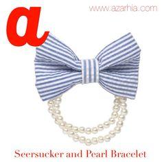 Blue Seersucker and faux pearl bracelet, Azarhia