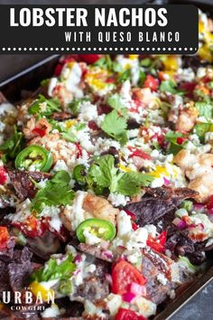 These lobster nachos take simple lobster tails and dazzle a plate of nachos up to be a special occasion dish! Use as a fun pool party recipe or a texmex themed date night recipe! Your loved ones will love this nacho recipe at UrbanCowgirlLife.com | Cheesy Recipes, Seafood Recipes, Mexican Food Recipes, Tailgating Recipes, Barbecue Recipes, Yummy Appetizers, Appetizer Recipes, South American Dishes, Mexican Side Dishes