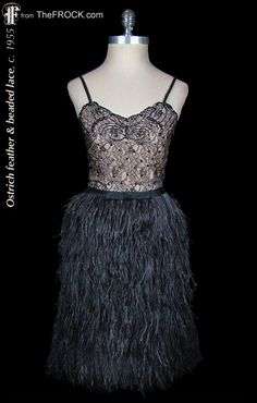 Vintage 1950s black beaded lace and ostrich feather cocktail dress; LBD, Little Black Dress. (The garment is from our vintage couture collection at TheFROCK.com, though it is no longer available.)