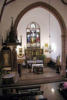 "THE SHRINE OF DIVINE MERCY - Mysliborz (Poland) -""The stained glass window in the main altar of the church of Saint Cross,  about which Saint Faustina told Father Sopocko."""