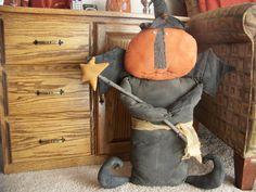Primitive Large Pumpkin Witch Halloween Decor by MondaysChildPrims