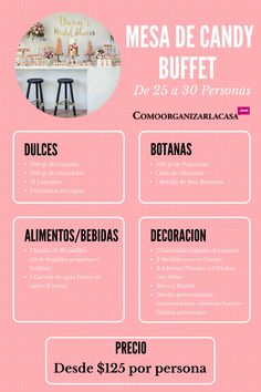 mesa de dulces 25 personas, candy buffete, como montar una mesa de dulces, como poner un candy buffete Candy Bar Party, Candy Table, Candy Buffet, Dessert Table, A Table, Sweet Table Decorations, Sweet 16 Themes, Healthy Bars, Sugar Candy