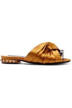 31184385a50d64 21 - Metallic leather-trimmed crystal-embellished satin slides. Shoes Flats  ...