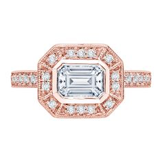 18K Pink Gold 1/3 Ct Diamond Carizza Semi Mount Engagement Ring to fit Emerald Center - Shah Luxury #carizza #engagement