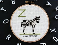 zebra, modern cross stitch, contemporary embroidery, zoo animals, alphabet flash cards, personalized baby gift, african safari