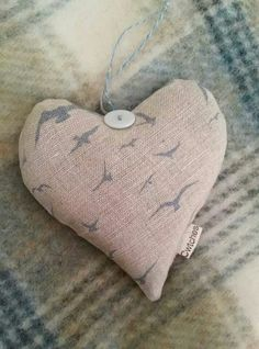 Just love this one! Peony and Sage Tiny Seagulls ~ Old Blue on Stone Linen with Peony and Sage Deckchair Stripe ~ Blue Gray. Organic lavender heart, hand sewn.