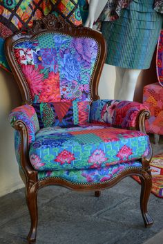 Kaffe Fassett Collective beautiful blues chair, Milan 2014