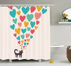 Cute Cat in Love with Colorful Different Sizes of Hearts Bathroom Shower Curtain Set with Hooks