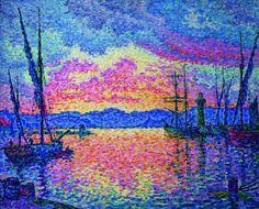 PAUL SIGNAC - Le Port (soir). Couchant rouge (Saint-Tropez), 1906, Chicago, collection particulière.DIVISIONNISME