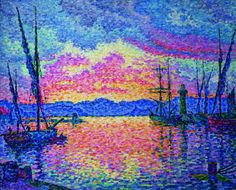 PAUL SIGNAC - Le Port (soir). Couchant rouge (Saint-Tropez), 1906, Chicago, collection particulière.DIVISIONNISME