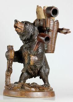 Antique 27 cm carved wood black forest bear Cigar - Smoke Pipe holder Glass eyes