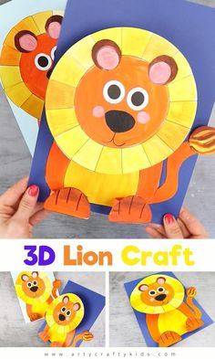 Looking for a fun and easy animal craft to make with the kids? check out this Paper Lion Craft that pops from the page and doubles as a color study. Recycled Crafts Kids, Animal Crafts For Kids, Paper Crafts For Kids, Easy Crafts For Kids, Craft Activities For Kids, Summer Crafts, Preschool Crafts, Paper Crafting, Crafts To Make
