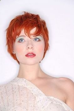 Red orange hair color short haircut