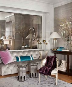 dissecting the details | Search Results | La Dolce Vita, love the mirrors and the grey velvet
