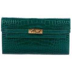17171469d0a5 Hermes Kelly Green Alligator Gold Evening Kelly Clutch Wallet Bag in Box  Boxes For Sale