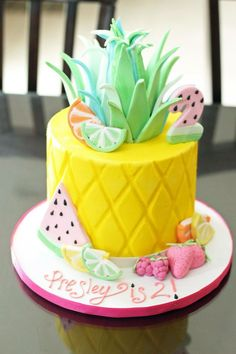 Two-tti Fruity Cake Tutti Fruity Cake Second Birthday : Party ideas for birthday 2nd Birthday Party For Girl, 12th Birthday Cake, Second Birthday Ideas, Luau Birthday, Pinapple Birthday Cake, Hawaii Birthday Cake, Birthday Cakes For Girls, Birthday Pins, Pineapple Cake