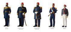 Abdülmecit dönemi donanma personelleri, soldan sağa: Ferik Paşa, Üç Ambarlı Süvarisi, Buyrultulu Kaptan, Bahriye Topçu Subayı, Bahriye Eri.