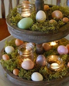 @curiouscountry posted to Instagram: Found this idea on Pinterest to decorate a tiered tray for spring and Easter. This is so easy-- just some faux eggs and small mason jars with candles (use battery operated lights to prevent fires) nestled in green Spanish Moss. Pick up a bag of Spanish Moss for decorating today- and share pics of what you do with it with us by tagging @curiouscountrycreations⁣ #spanishmoss #springdecor #springdecorating #springcolor #springcolors #springdecoratingideas #dr