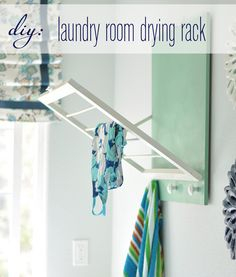 How-To: Fold-Out Laundry Room Drying Rack #laundryroom #laundry #organization #DIY