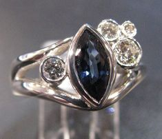 Sapphire and diamond marquis ring Marquise Ring, Heart Ring, Sapphire, Silver Rings, Diamond, Gallery, Jewelry, Jewlery, Roof Rack