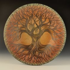 "Natalie Blake Studios 2015 ""Rooted to Sky and Earth"" ~ handmade hand carved porcelain platter"
