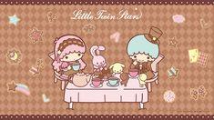 Little Twin Stars Wallpaper 2019 二月桌布 日本官方Twitter愛麗絲版 Little Twin Stars, Little My, Little Star, Star Cloud, Star Wallpaper, My Melody, Stargazing, Twinkle Twinkle, Tea Party