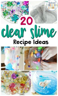 25+ Clear Slime Recipe Ideas, including how to make clear slime and slime videos, you can learn about slime science, find clear slime recipe without borax, clear slime recipe with contact solution and so many FUN homemade slime recipes. #slime #slimerecipes #clearslime #sensoryplay #fluffyslime