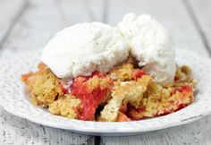 This rhubarb dump cake recipe is one of my fave dump cake recipes ever! It tastes like strawberry rhubarb crisp. Have it ready to bake in 5 minutes.