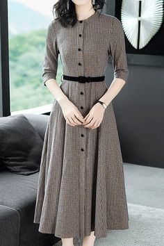 Ladylike Belt Plaid Expansion Women's Skater Dress The most beautiful and newest outfit ideas co Modest Fashion, Hijab Fashion, Korean Fashion, Fashion Outfits, Girly Outfits, Gold Fashion, Fashion Weeks, Chic Outfits, Teen Fashion