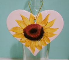 Sunflower Heart by purplepetalsstudio on Etsy, $5.50