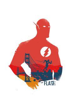 Flash superhero Poster Design- Different sizes - FanArt illustration - Home Decor geek print. #artwork #wallart #flash #superhero #geek #2toastdesign #graphic #illustration