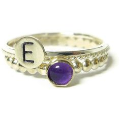 Sterling silver stacking ring set custom ring Silver monogram ring initial ring gemstone amethyst ring personalized jewelry