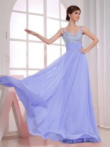 Beading Decorated Empire Straps Lilac Prom Dress for Party on Wholesale Price