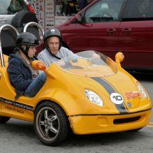 GoCar buggy cruisers on Jefferson Street at Fisherman's Warf, San Francisco.