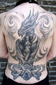 Dragon tattoo is one of the most popular mystical tattoos. - Dragon tattoo is one of the most popular mystical tattoos. Dragon Tattoo Back, Dragon Tattoos For Men, Chinese Dragon Tattoos, Dragon Tattoo Designs, Diy Tattoo, Full Tattoo, Cover Tattoo, Back Tattoos For Guys Upper, Cool Back Tattoos
