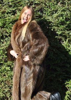 Long Haired Beaver Fur Coat with Fox Trim Long Winter style size large beautiful #Unbranded #BasicCoat