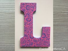 Painted Nursery Letters Initial Wooden Wall Door Custom Modern Design Pink Purple Paisley Gift Baby Child Name Home Decor Girl - L Leah by PaintedLettersCA on Etsy Name Letters, Nursery Letters, Leah Name, Kid Names, Baby Names, Name Wall Decor, Baby Name Signs, Painted Letters, Wooden Walls