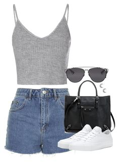 """Untitled #4843"" by eleanorsclosettt ❤ liked on Polyvore featuring Topshop, Glamorous, Christian Dior, Balenciaga and Converse"
