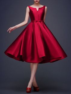 Wine Red Plain Pleated Bowknot Waist Belt Sleeveless Audrey Hepburn Style Bridemaids Elegant Party Midi Dress