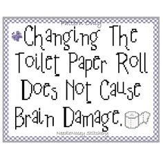 Cross Stitch Pattern PATTERN ONLY Changing The Toilet Paper Roll.... $3.50, via Etsy.