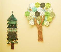 Mini hexagon idea / use tree as an appliqué on a bag or skirt :)