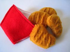 Felt food Chicken nuggets set eco friendly childrens pretend play food for toy kitchen. $10.00, via Etsy.