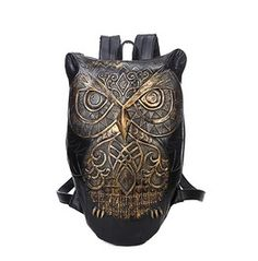 Gothic Black/Gold/Silver Color Pu Leather Owl Backpack/Bag