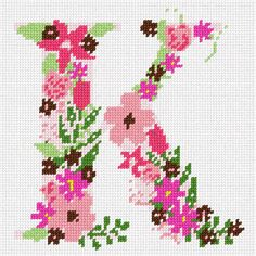 Needlepoint Designs, Needlepoint Kits, Needlepoint Canvases, Cross Stitch Letters, Letter K, Sewing Crafts, Stitch Patterns, Needlework, Roman Alphabet