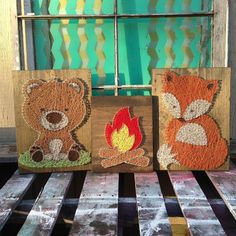Bear 12x15, Campfire 9x12, Fox 12x15 What an adorable set of campers!! These little fellas are just trying to stay warm next to the string art fire. Each piece is made with lots of love and attention. Mr Bear has settled in a bright green patch of grass and Mr Fox has wrapped himself