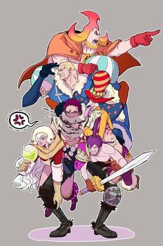Big Mom Crew Charlotte Family One Piece One Piece Anime, One Piece Fanart, One Piece Luffy, One Piece Big Mom, Manga Anime, Akuma No Mi, Big Mom Pirates, One Piece Tattoos, The Pirate King